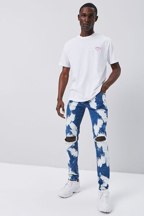BLUE/MULTI Bleached Wash Skinny Jeans, image 1
