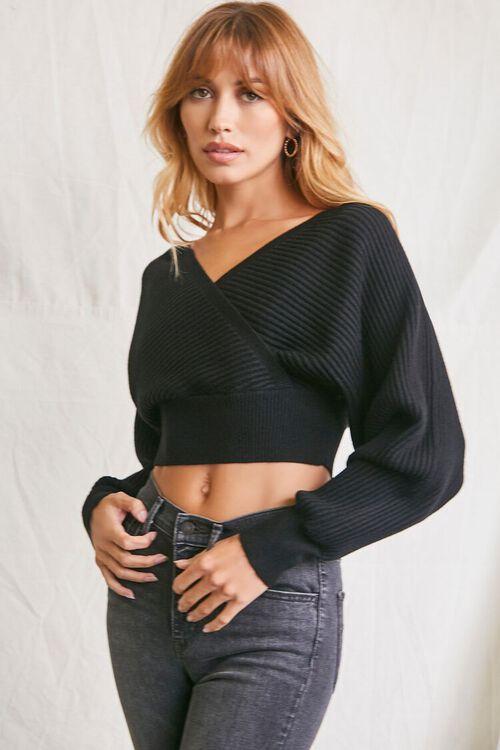 BLACK Ribbed Surplice Sweater, image 1