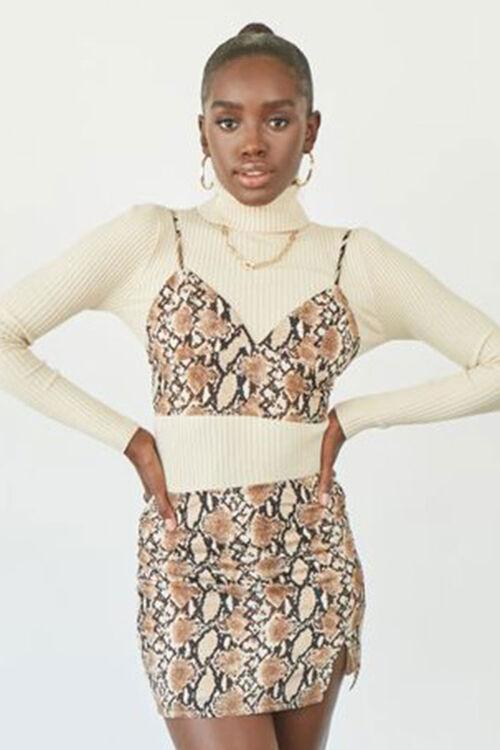 Faux Cropped Cami & Mini Skirt Set, image 1