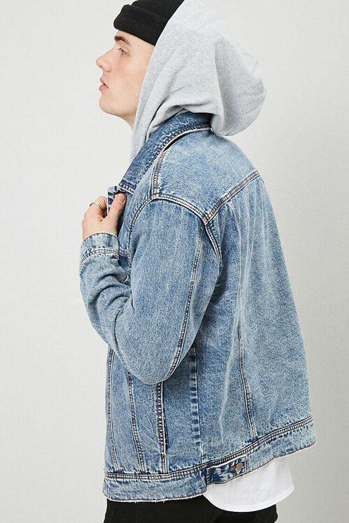 MEDIUM DENIM/GREY Hooded Denim Jacket, image 2