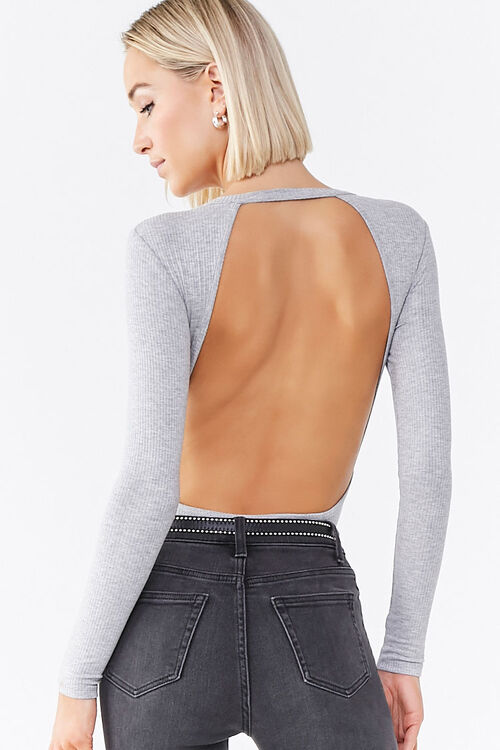 Ribbed Open-Back Bodysuit, image 3