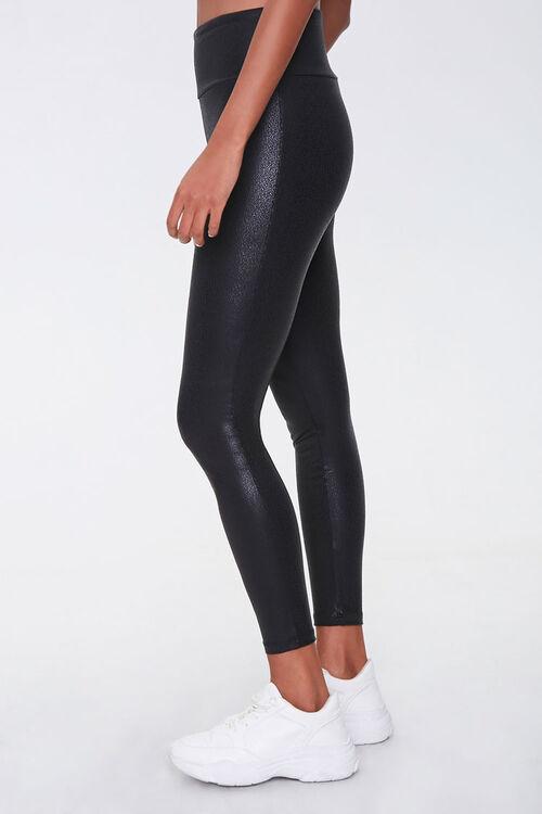 BLACK Active Faux Leather Leggings, image 3