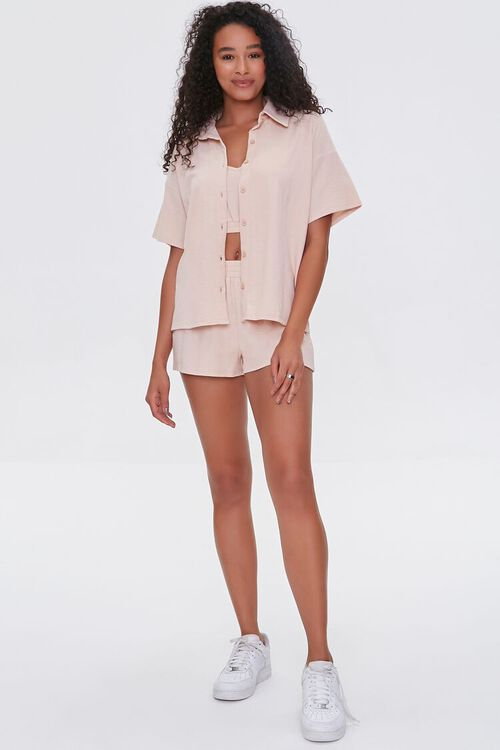 Terry Cloth Shirt Cami & Shorts Set, image 4