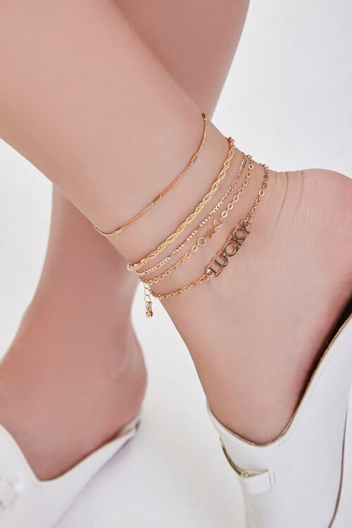 GOLD Lucky Charm Anklet Set, image 1