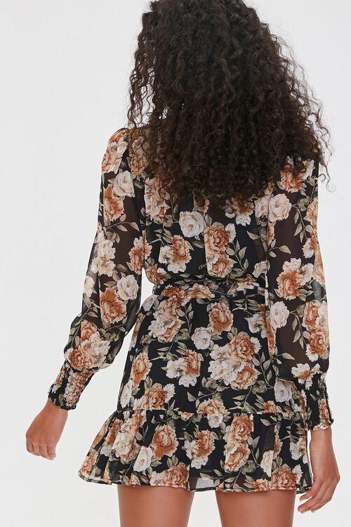 BLACK/TAUPE Floral Print Mini Dress, image 3