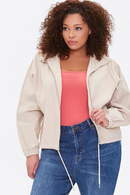 Plus Size Drawstring-Hem Jacket, image 1