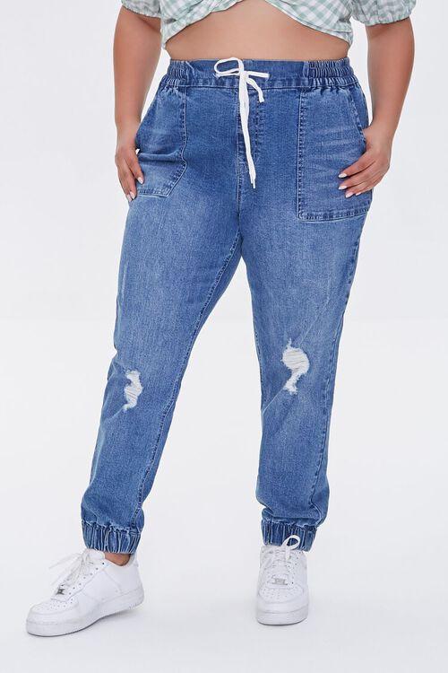 Plus Size Denim Joggers, image 2