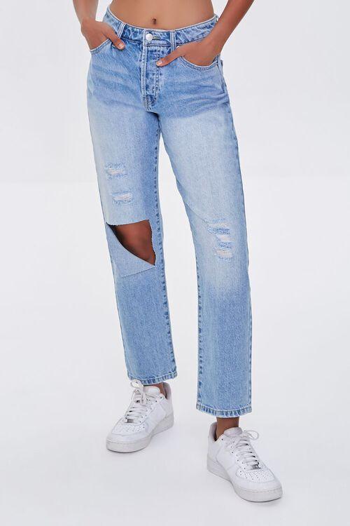 LIGHT DENIM Premium Distressed Boyfriend Jeans, image 2