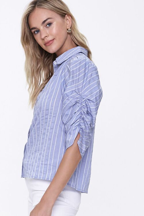 BLUE/WHITE Striped Ruched-Sleeve Shirt, image 2