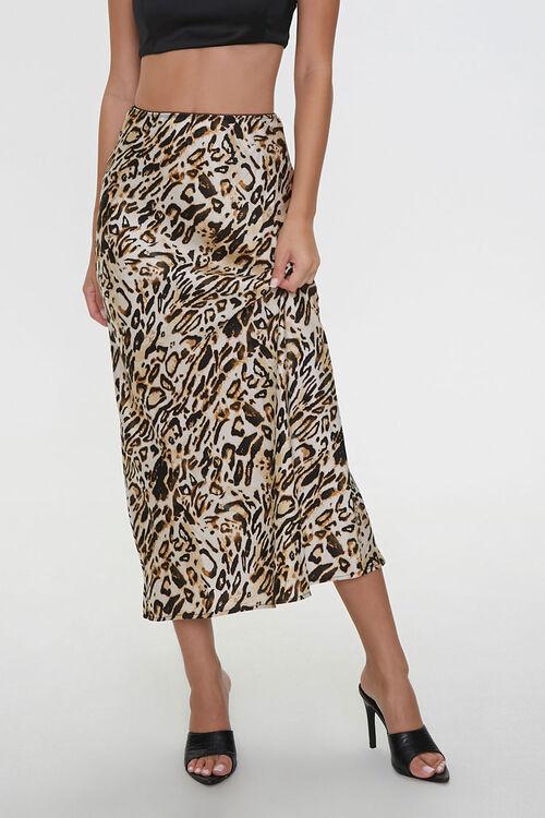 Satin Leopard Print Skirt, image 1