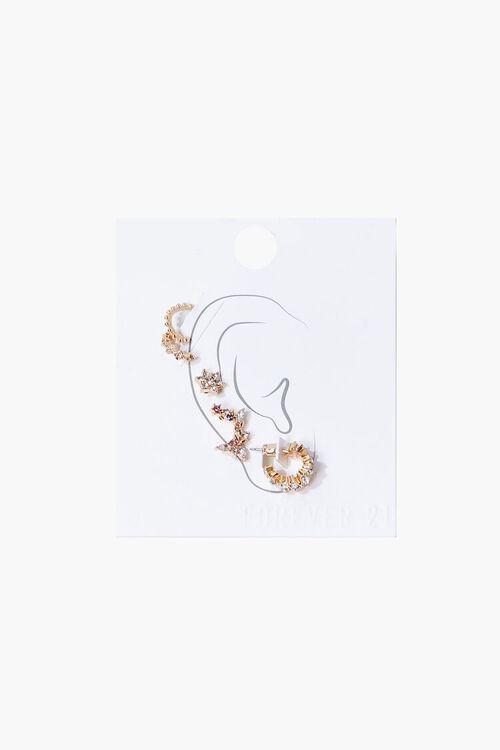 Rhinestone Hoop & Stud Earring Set, image 1