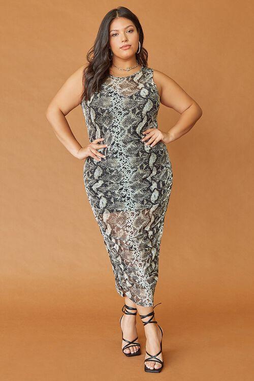 Plus Size Snake Print Dress, image 1