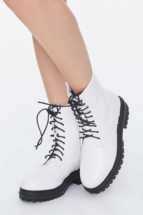 Faux Leather Lace-Up Ankle Boots, image 1