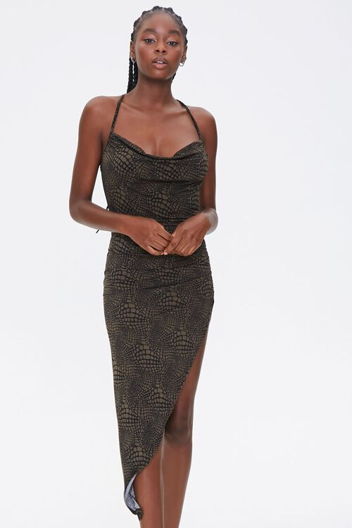Snake Print Cowl Dress, image 1