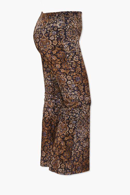 BLACK/TAN Plus Size Velvet Ornate Print Flare Pants, image 2