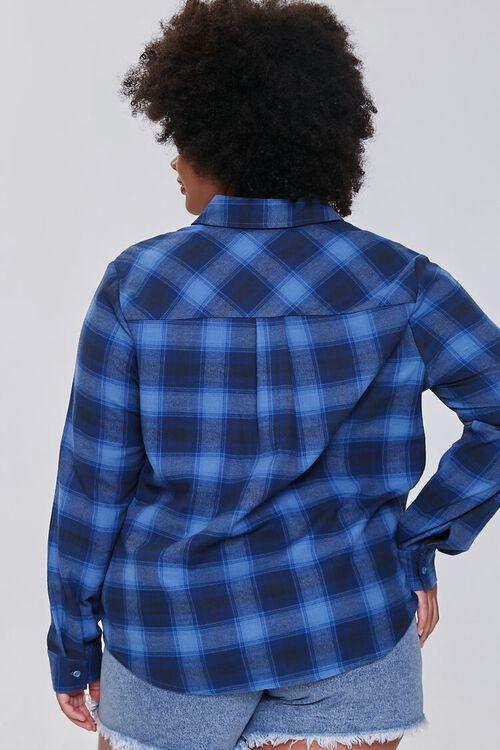 BLUE/DARK BLUE Plus Size Dual-Pocket Flannel Plaid Shirt, image 3
