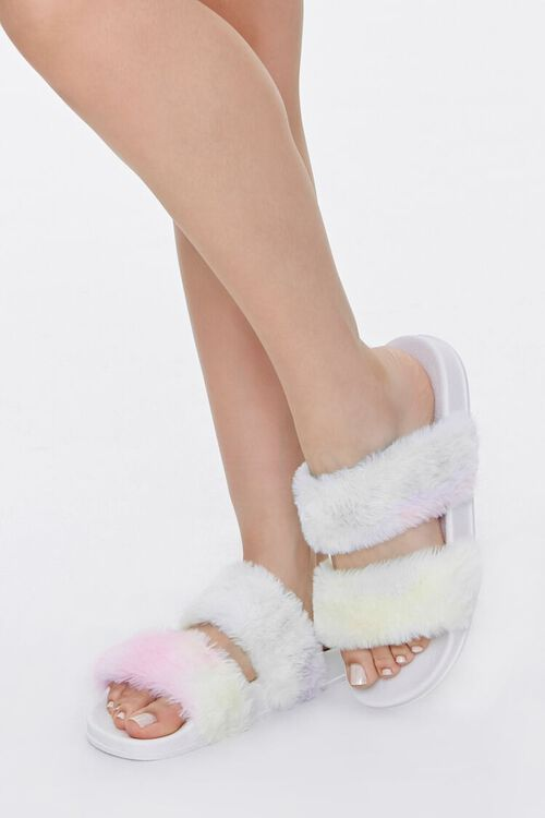 Faux Fur Rainbow Wash Slippers, image 1