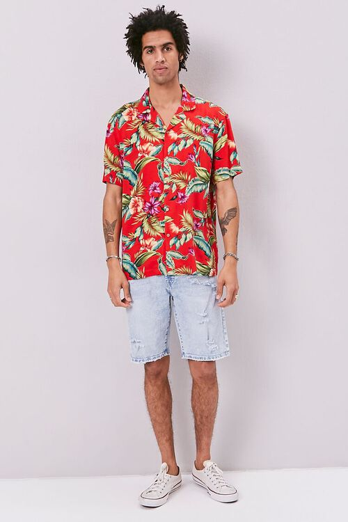 RED/MULTI Classic Fit Tropical Print Shirt, image 4