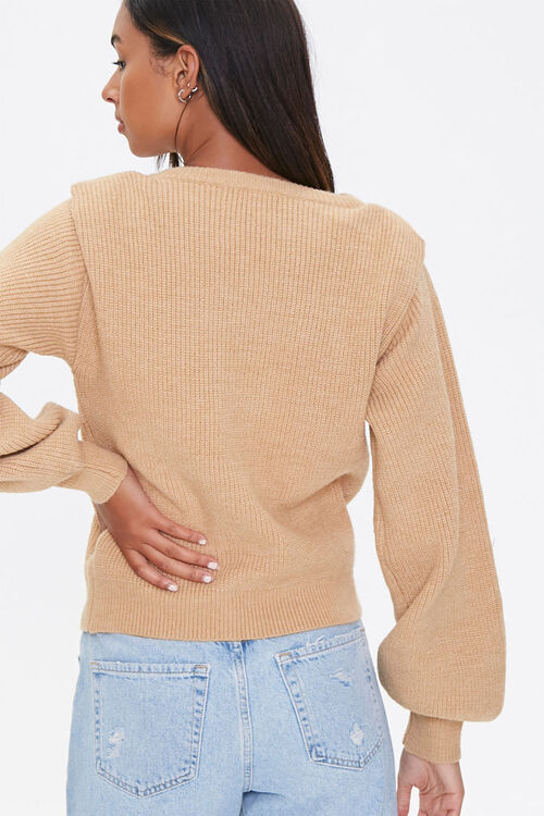 Ribbed Shoulder-Pad Sweater, image 3