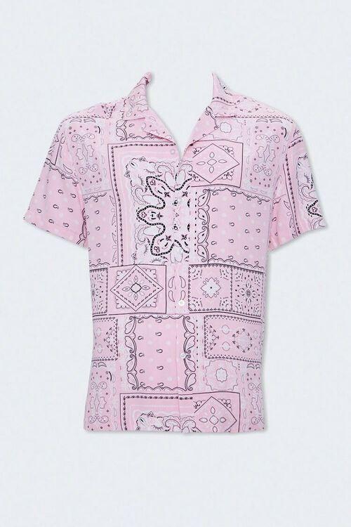 PINK/MULTI Paisley Print Cuban Collar Shirt, image 4