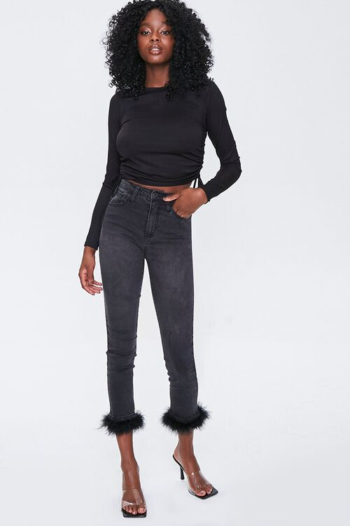 Feathered-Trim Ankle Jeans, image 1