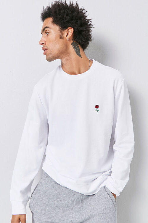 Embroidered Rose Sweatshirt, image 1
