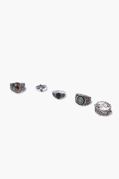 SILVER Burnished Faux Stone Ring Set, image 1