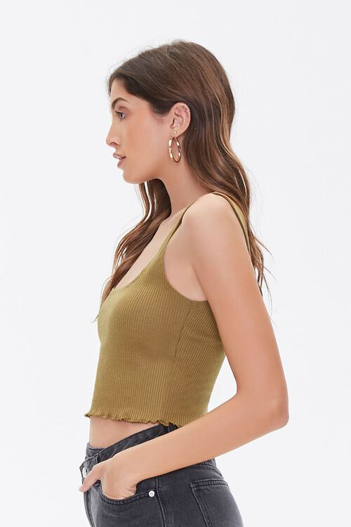 BROWN Ribbed Cropped Tank Top, image 2