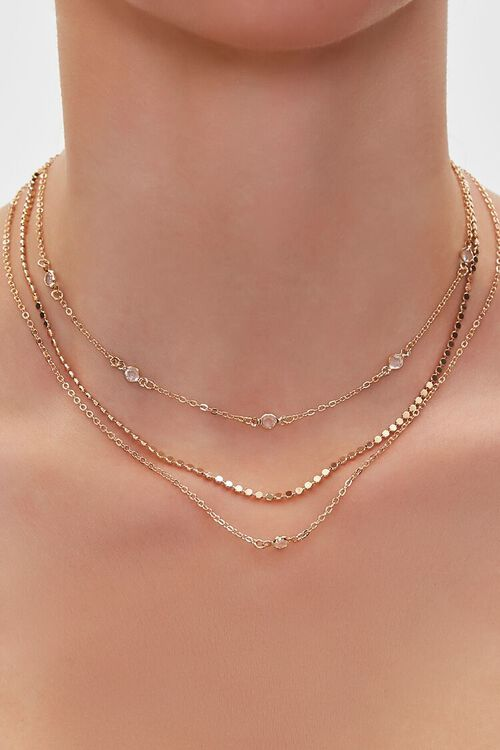 Faux Gem Layered Chain Necklace, image 1