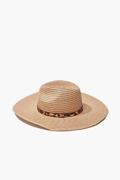 Faux Straw Leopard Print-Trim Hat, image 3
