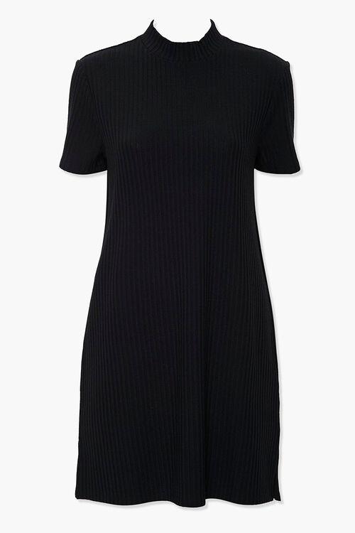 Ribbed Mock Neck T-Shirt Dress, image 1