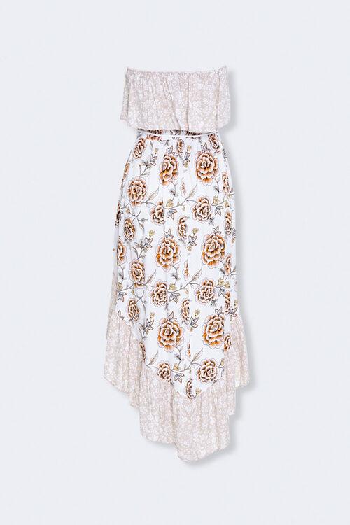 Strapless Floral Patternblock Dress, image 3