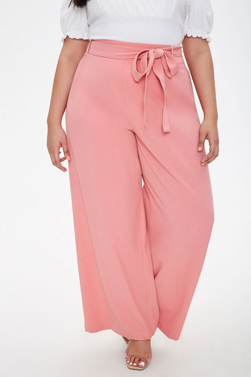 Plus Size Belted Wide-Leg Pants, image 2