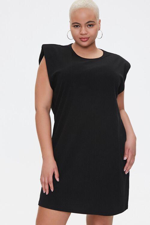 Plus Size Shoulder Pads Tank Dress, image 1