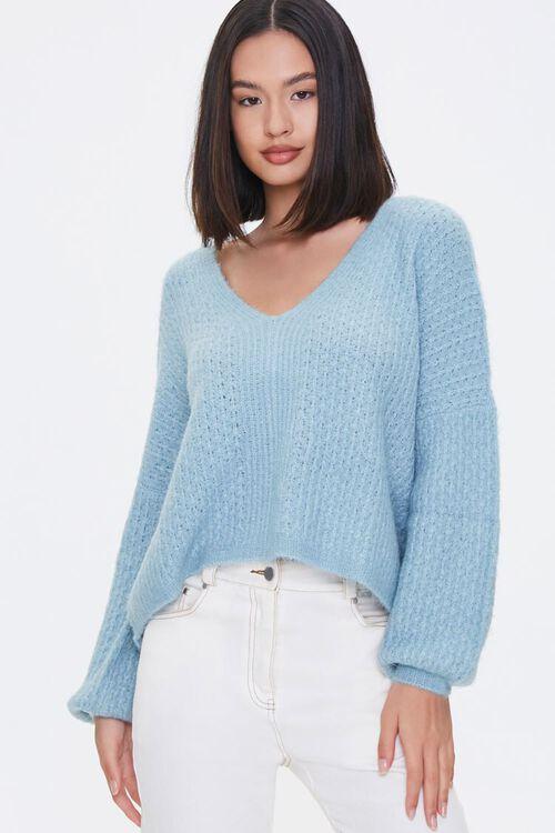 Open-Knit V-Neck Sweater, image 1