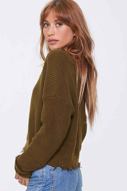 Ribbed Distressed-Trim Sweater, image 2
