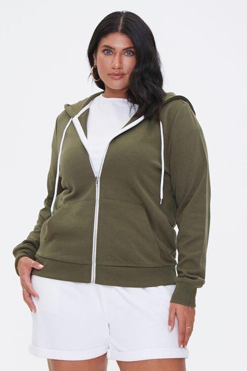 Plus Size Drawstring Zip-Up Hoodie, image 5