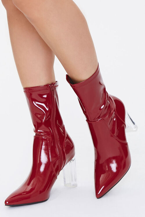 Faux Patent Leather Lucite Heel Booties, image 1