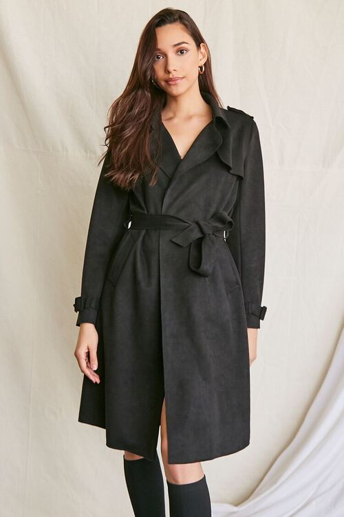 BLACK Faux Suede Duster Trench Jacket, image 1