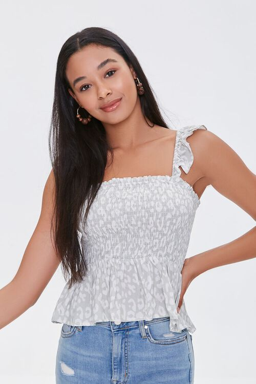 Spotted Print Smocked Top, image 2
