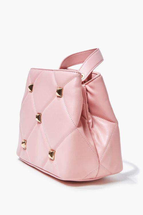 PINK Studded Quilted Faux Leather Satchel, image 2