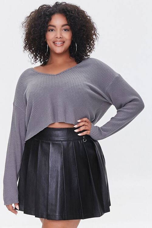 BLACK Plus Size Faux Leather Pleated Skirt, image 6