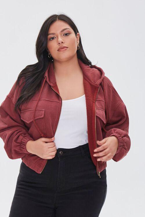 BURGUNDY Plus Size Hooded Flap-Pocket Jacket, image 1