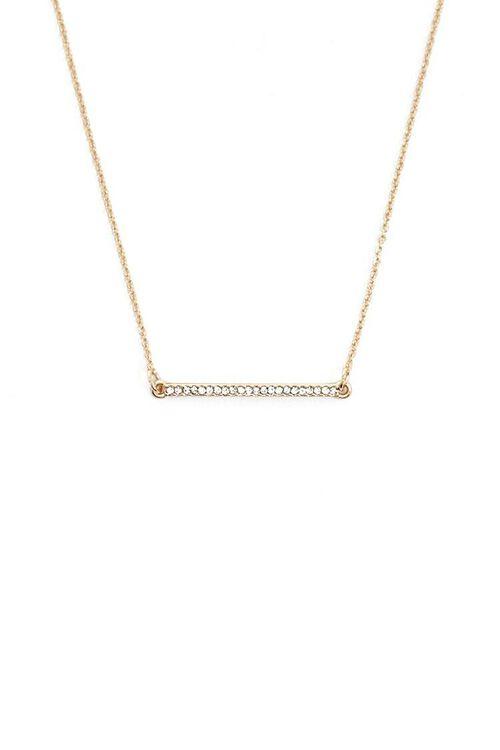 Rhinestone Bar Pendant Necklace, image 1