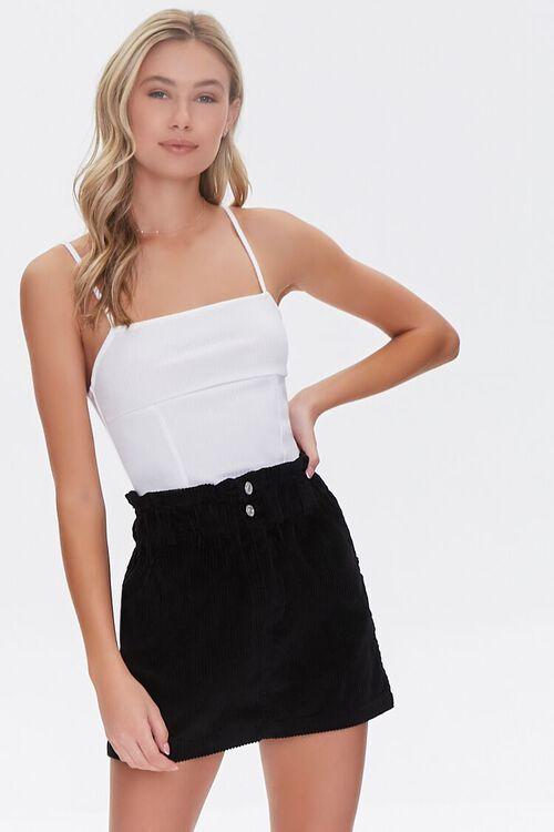 BLACK Paperbag Corduroy Mini Skirt, image 1