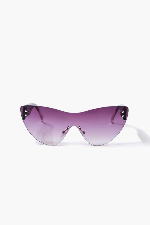BLACK/BLACK Rimless Cat-Eye Sunglasses, image 1