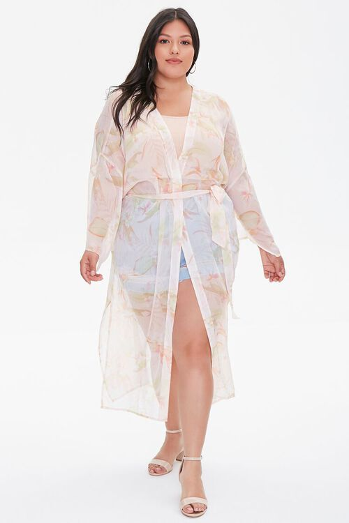 Plus Size Tropical Floral Kimono, image 4