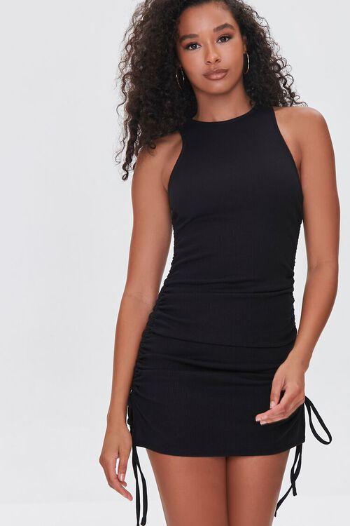 BLACK Ruched Drawstring Mini Dress, image 1