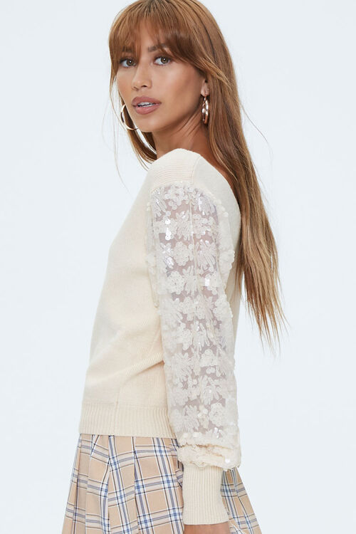 Ribbed Sequin-Sleeve Sweater, image 2