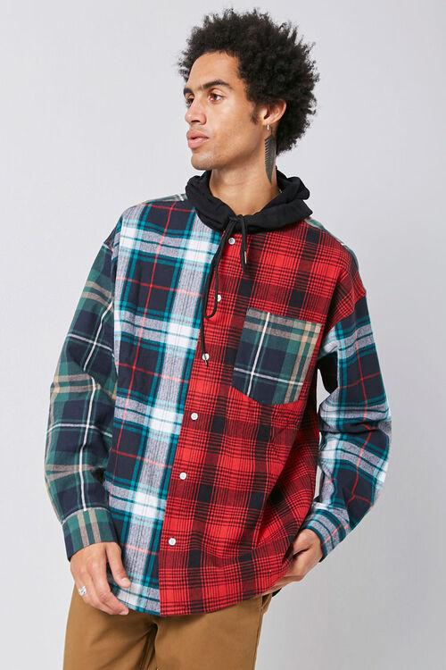 Plaid Patternblock Hooded Shirt, image 5